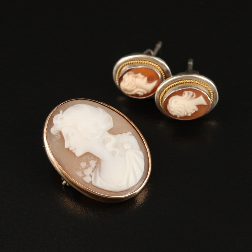10K and 800 Silver Helmet Shell Cameo Brooch and Earrings