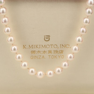 Vintage Mikimoto Strand of Near-Round Pearls with Box