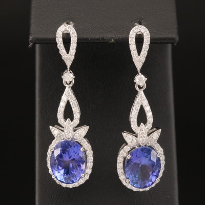 Platinum 10.22 CTW Tanzanite and 1.50 CTW Diamond Earrings