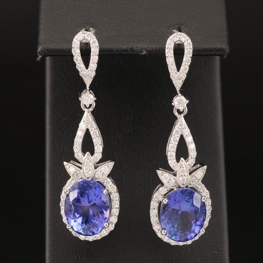 Platinum 10.22 CTW Tanzanite and 1.50 CTW Diamond Earrings