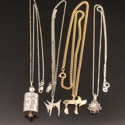 Sterling Pendant Necklaces Featuring Religious Themes and Pearl Accents