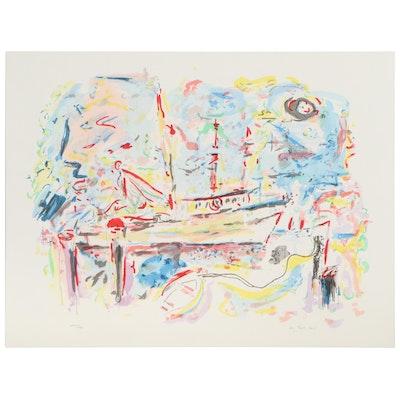 "Wayne Ensrud Color Lithograph ""Harbor Boats,"" Late 20th Century"