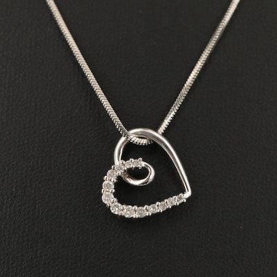 14K Diamond Heart Pendant on Serpentine Style Necklace