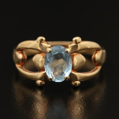 14K Aquamarine Openwork Ring