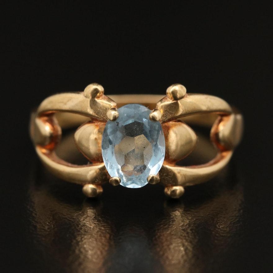 14K Aquamarine Openwork Ring