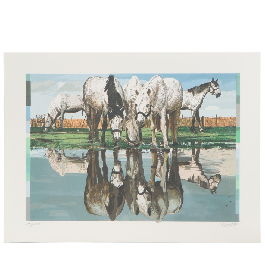 "Fran Bull Serigraph ""Horses of the Camargue,"" 1980"