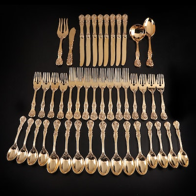 "F.B. Rogers ""French Rose"" Gold Plate Flatware and Serving Utensils with Chest"