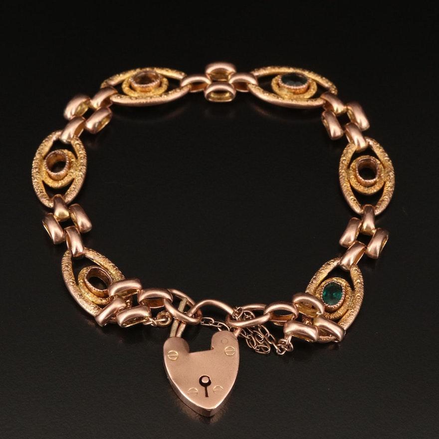 Antique 9K Engraved Garnet Glass Doublet Oval Link Bracelet