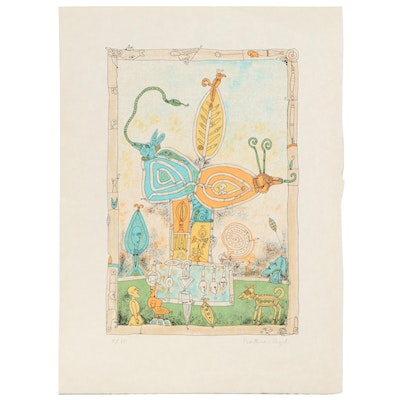 "Bernard Berthois-Rigal Color Lithograph ""Mystical World II,"" Late 20th Century"