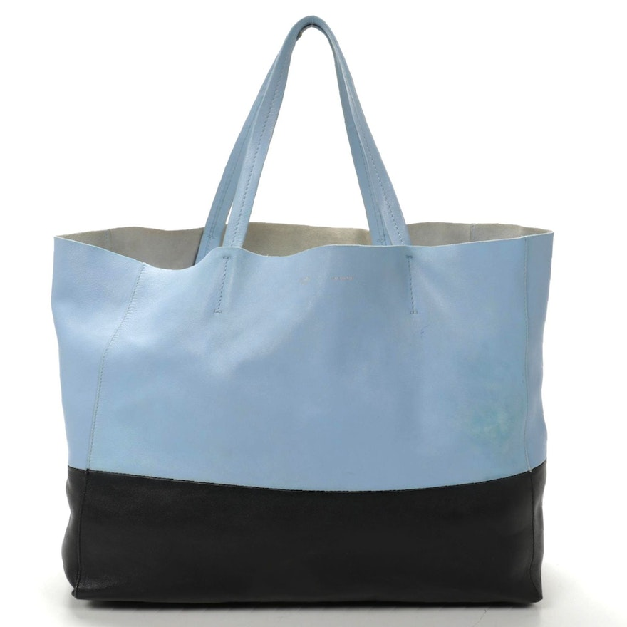 Céline Cabas Phantom Tote in Color Block Powder Blue and Navy Leather