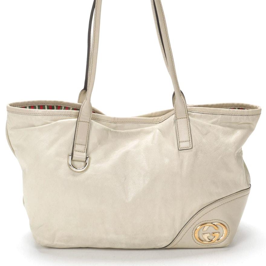 Gucci Leather Shoulder Bag with Signature Stripe Lining, Vintage