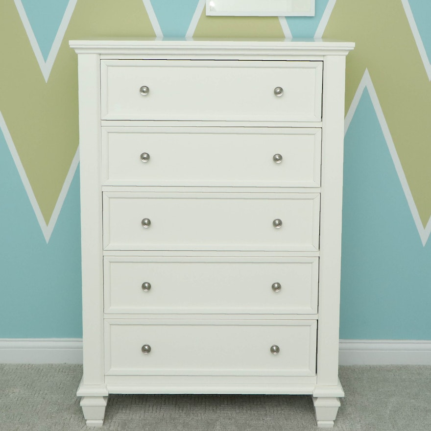 Coaster White-Painted Wood Five-Drawer Chest
