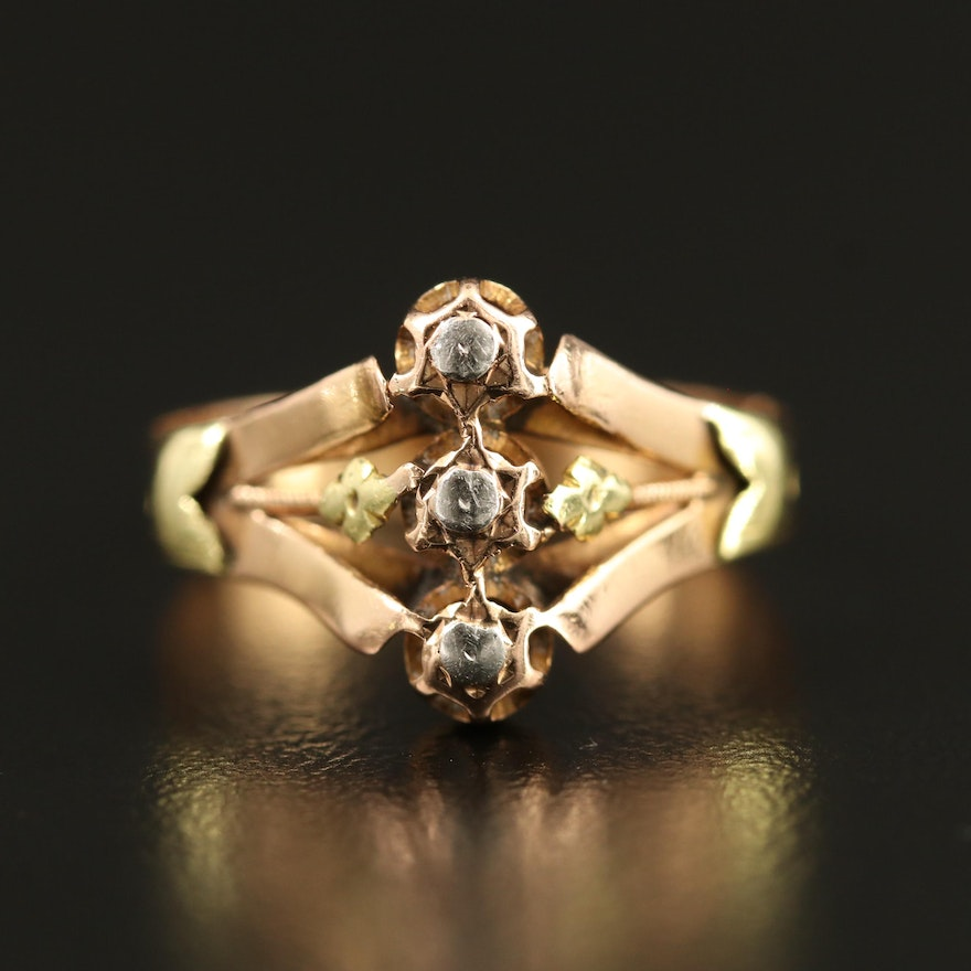 Vintage 18K Rose Gold Ring with Green Gold Accents