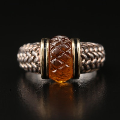 Sterling Silver Carved Citrine and Enamel Ring with 18K Accents