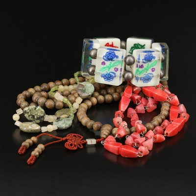 Vintage Jewelry Selection Featuring a Mala and a Lucite Mahjong Tile Bracelet