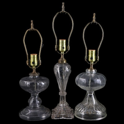Converted 19th Century Etched and Pressed Glass Oil Lamps