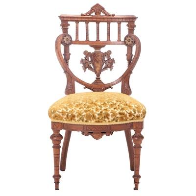 Victorian Walnut, Burl Walnut, and Marquetry Side Chair, 2nd Half 19th Century