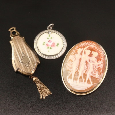 Vintage Sterling Enamel Pendant with Three Graces Cameo Brooch and Locket