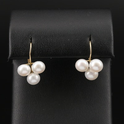 14K Pearl Trefoil Earrings