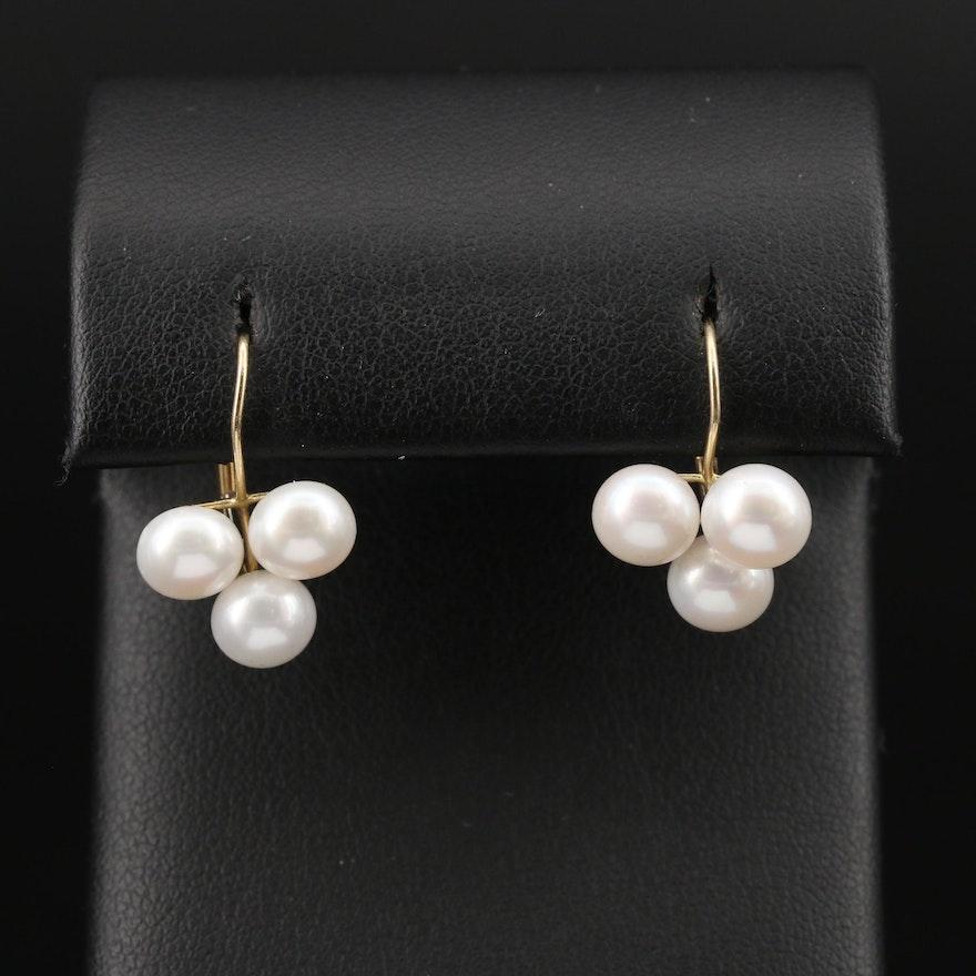 14K Pearl Trefoil Earrings