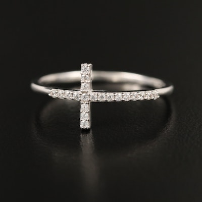 Sterling Cubic Zirconia Cross Ring