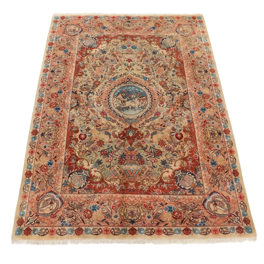 6'6 x 9'10 Hand-Knotted Persian Kashmar Pictorial Area Rug, 1970s