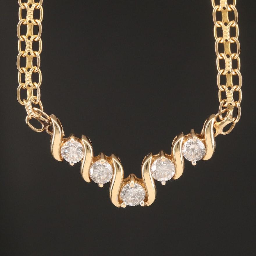 14K Diamond Chevron Style Necklace