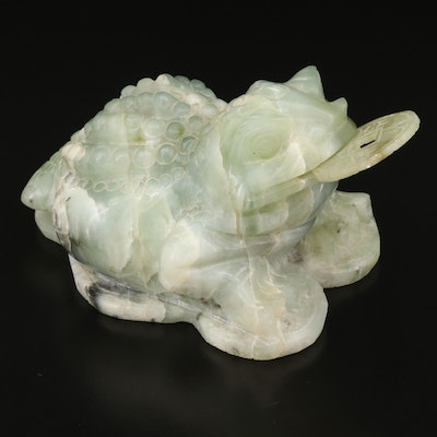 """Chinese Carved Serpentine """"Jin Chan"""" Money Toad"""
