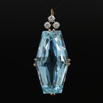 Vintage 18K 47.51 CT Aquamarine and Diamond Pendant