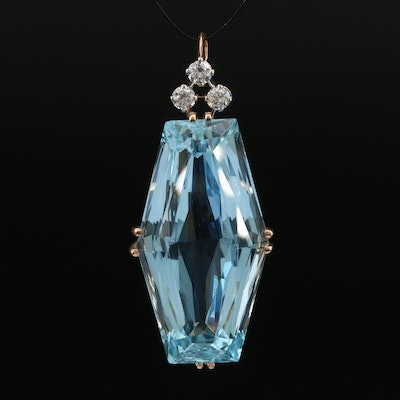 Vintage 18K 47.51 CT Aquamarine and Diamond Pendant