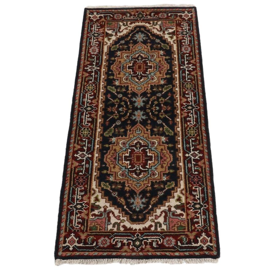 2'7 x 6'1 Hand-Knotted Indo-Persian Heriz Serapi Carpet Runner, 2010s