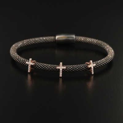 Sterling Cubic Zirconia Cross Station Bracelet