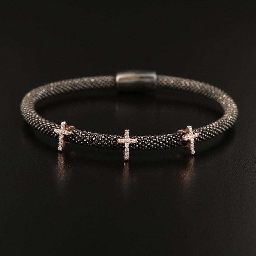 Sterling Cubic Zirconia Cross Station Bracelet