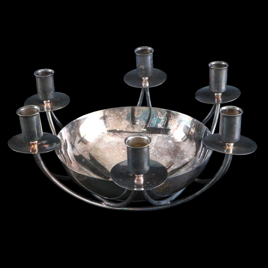 E. Dragsted Danish Modern Silver Plate Candle Holder Centerpiece