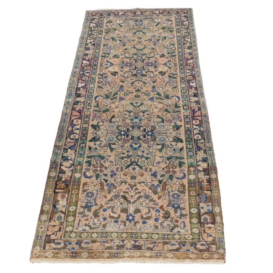3'4 x 9'11 Hand-Knotted Persian Lilihan Carpet Runner, 1970s