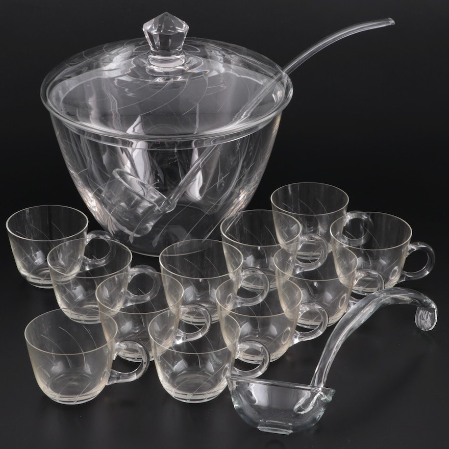 Etched Glass Lidded Punch Bowl with Glass Ladles and Cups