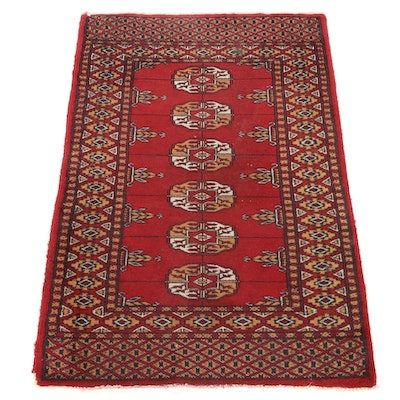 2' x 3'1 Hand-Knotted Pakistani Bokhara Turkmen Accent Rug, 1990s