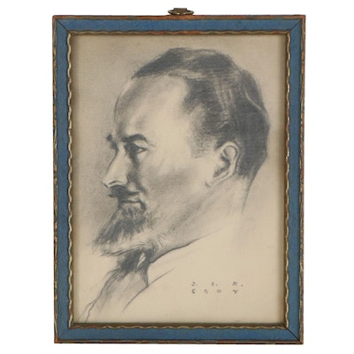 Graphite Portrait Drawing of Bearded Man, Early 20th Century