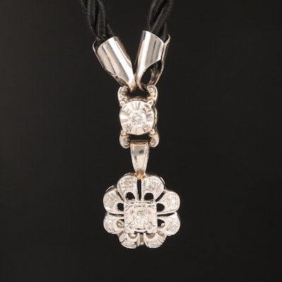 14K Diamond Pendant on Corded Chain