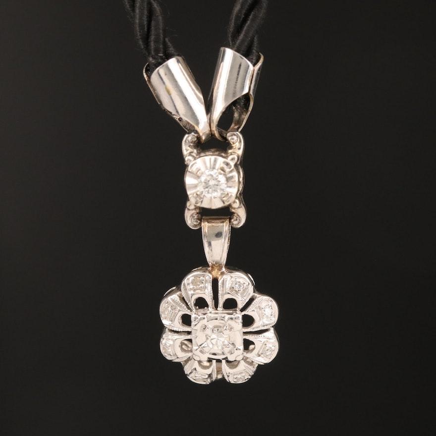 14K Diamond Pendant on Corded Chain