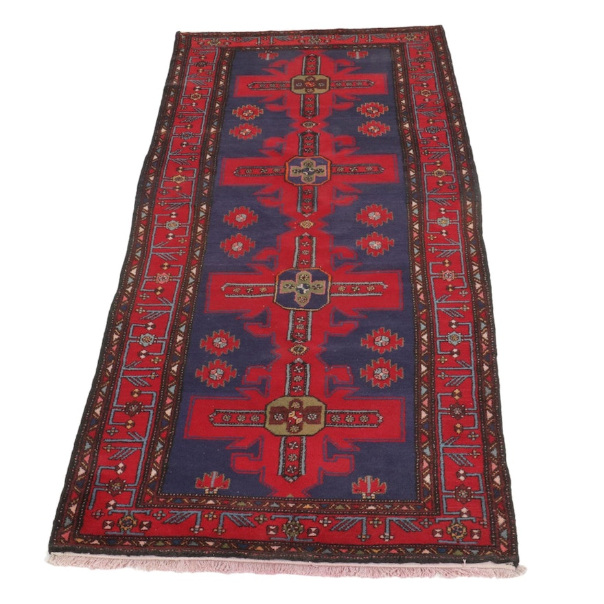 4' x 9'7 Hand-Knotted Persian North-West Persian Wide Carpet Runner,1960s