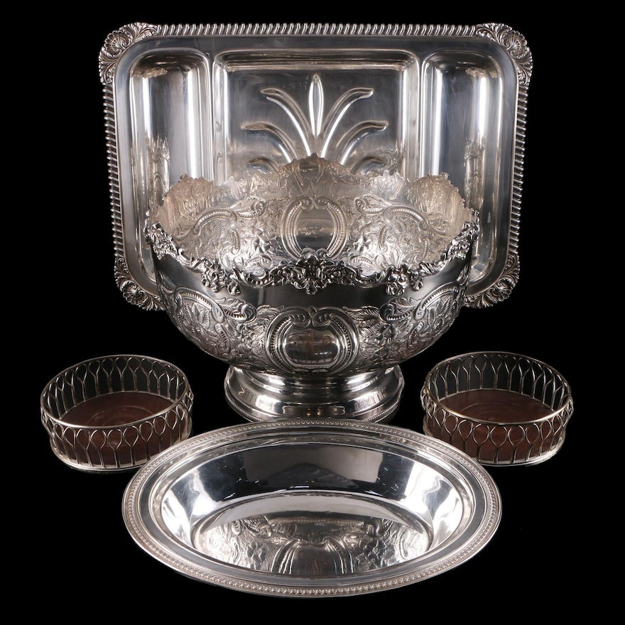 American and English Silver Plate Serveware, Hand Chased Punch Bowl, and More