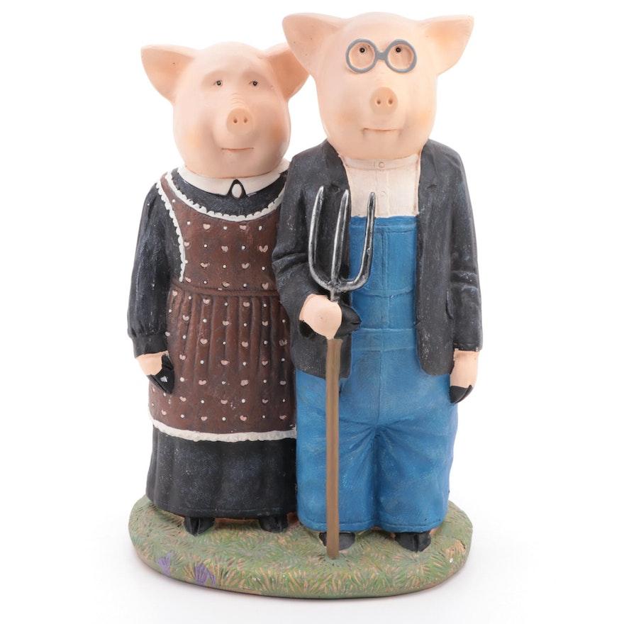 "Accents Unlimited ""American Gothic"" Ceramic Pig Statue, 2009"