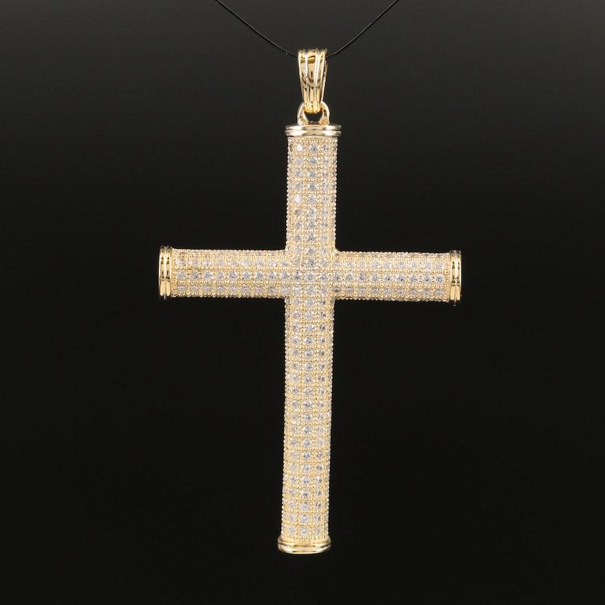 Sterling Pavé Cubic Zirconia Cross Pendant