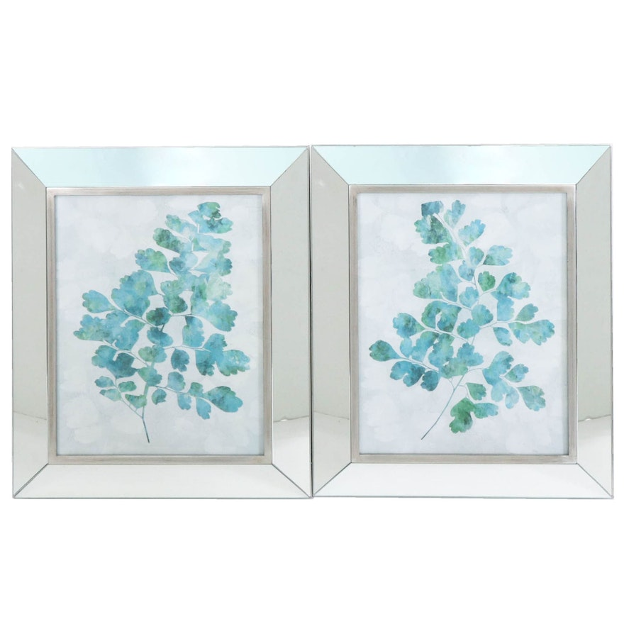 Botanical Offset Lithographs in Mirrored Frames