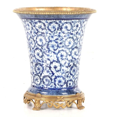 Claude Monet Museum Porcelain Vase with Gilt Rim and Base