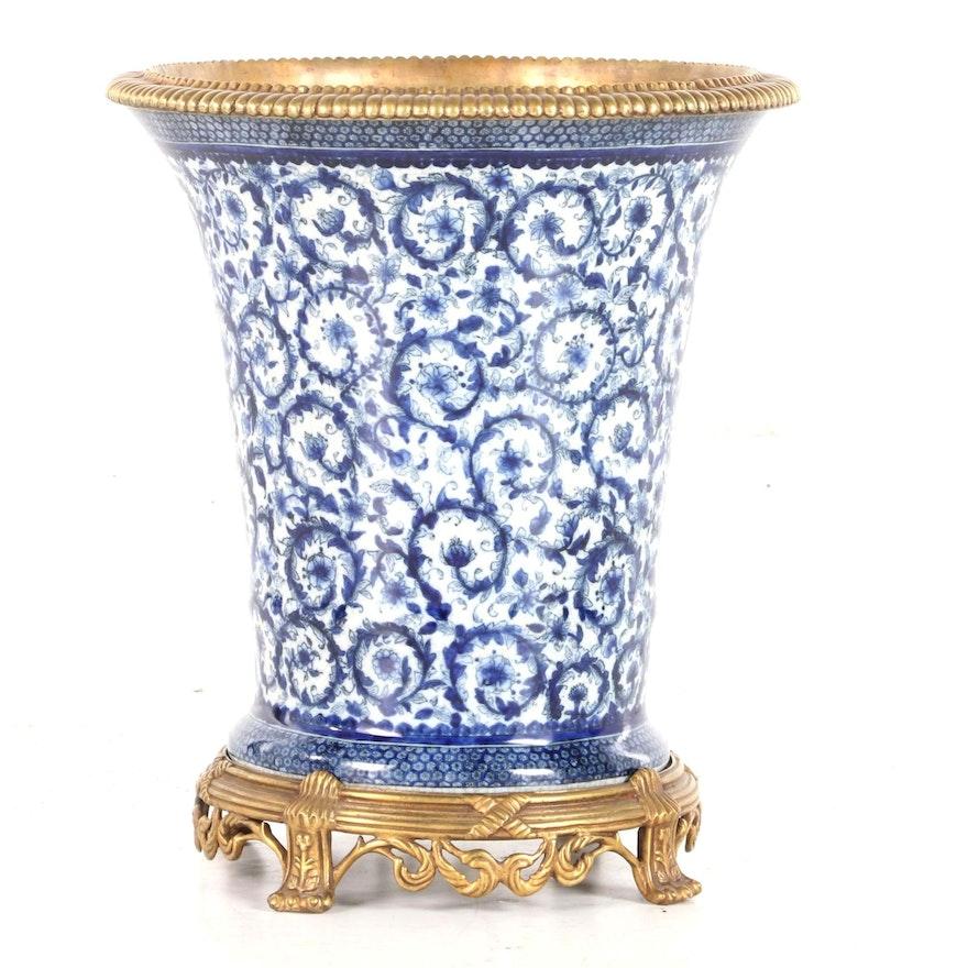Claude Monet Museum Porcelain Vase with Gilt Rim and Base