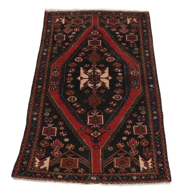 3'5 x 5'10 Hand-Knotted Persian Zanjan Accent Rug, 1960s