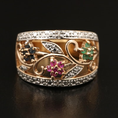 Sterling Silver Ruby, Emerald and Sapphire Floral Ring