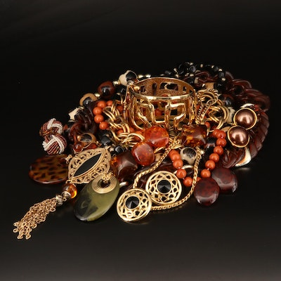 Bracelet, Necklaces and Clip Earrings Including Glass Faux Tortoise Shell